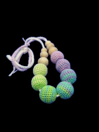 Colier de dentitie 7 bile crosetate, multicolor [2]