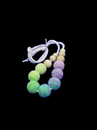 Colier de dentitie 7 bile crosetate, multicolor [0]