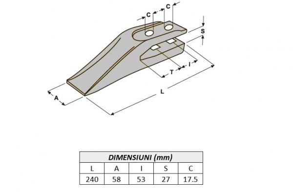 Dinte cupa buldoexcavator tip Terex 1462201M2-AROX [3]