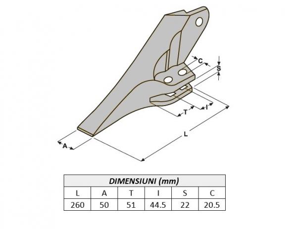 Dinte cupa buldoexcavator tip JCB 53103208-AROX 2
