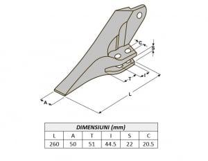 Dinte cupa buldoexcavator tip JCB 53103208-AROX2