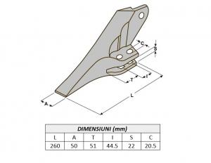 Dinte cupa buldoexcavator tip JCB 53103209-ITR2