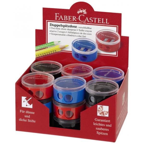 Ascutitoare Plastic Dubla Cu Container Twist Off Rosie/Albastra Faber-Castell 3