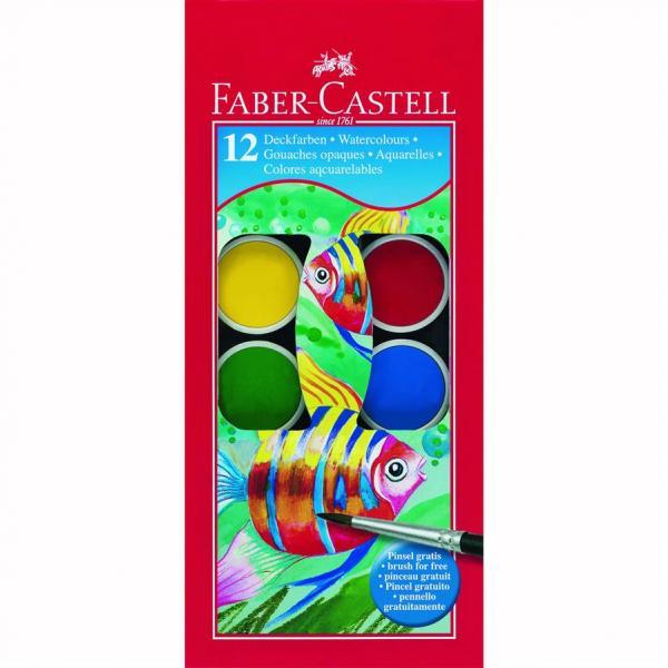 Acuarele 12 culori Pensula pastila de 30 mm Faber-Castell 1