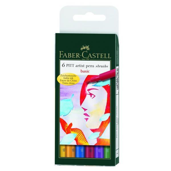 Pitt Artist Pen Set 6 buc culori de baza Faber-Castell 0