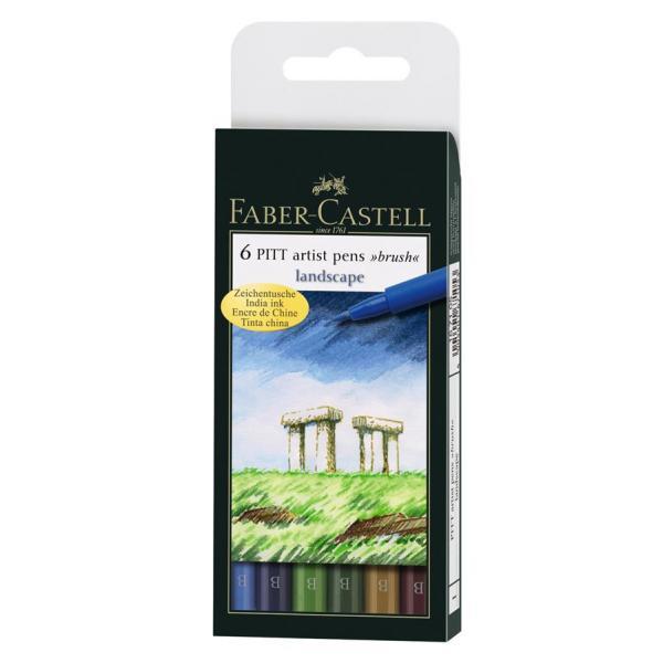 Pitt Artist Pen Set 6 buc, nuante natural Faber-Castell 0