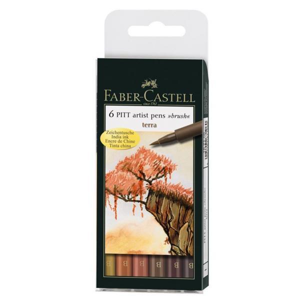 Pitt Artist Pen Set 6 buc, nuante pamantii Faber-Castell 0