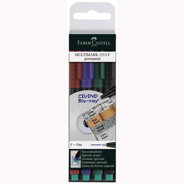 Set 4 culori Marker Permanent F Multimark Faber-Castell 0