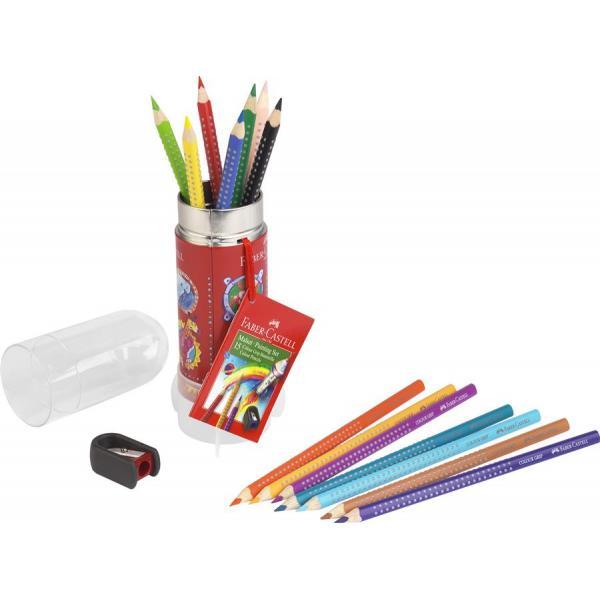 Set Cadou Racheta 8 Creioane Colorate Grip si Ascutitoare Faber-Castell 1