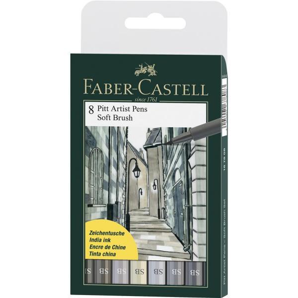 Pitt Artist Pen Soft Brush Set 8 Buc Faber-Castell 0