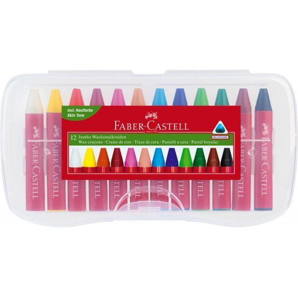 Creioane Cerate 12 Culori Jumbo Cutie Plastic Faber-Castell 0