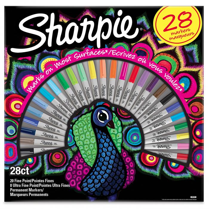 Set 28 Markere Permanente Bullet Fine Point Peacock Sharpie [0]
