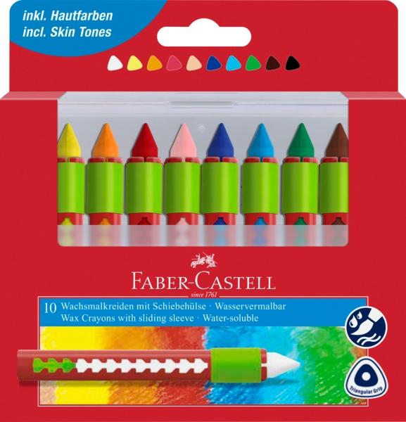 Creioane Cerate Solubile cu Protectie 10 Culori Faber-Castell 0