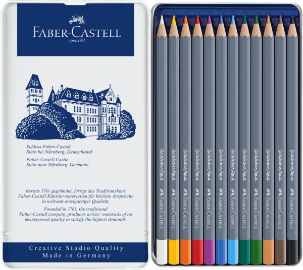 CREIOANE COLORATE AQUARELLE 12 CULORI GOLDFABER CUT. METAL Faber-Castell [1]