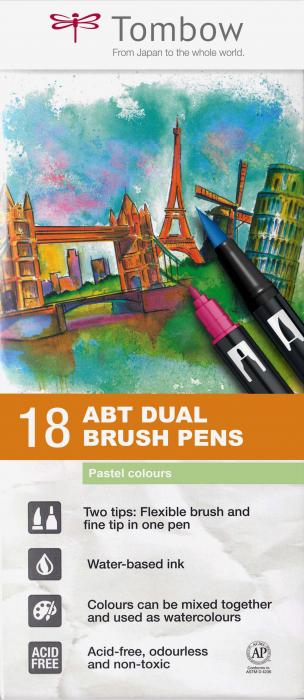 ABT Dual Brush Pen Pastel Colours - set 18 culori Tombow 0