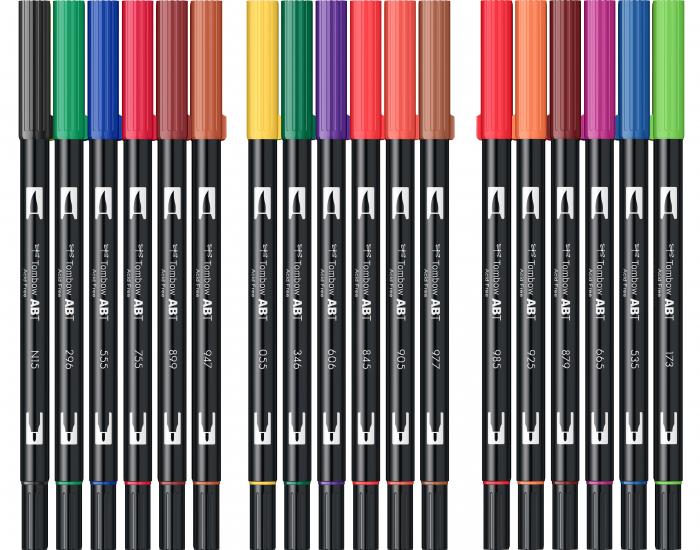 ABT Dual Brush Pen Primary Colours - set 18 culori Tombow 5