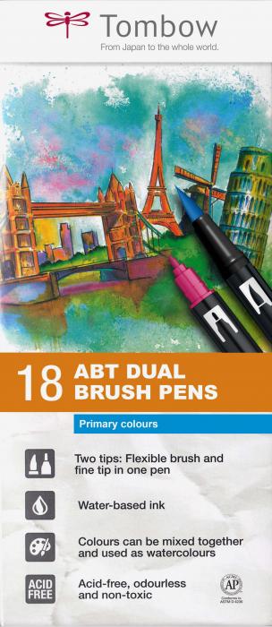 ABT Dual Brush Pen Primary Colours - set 18 culori Tombow 0