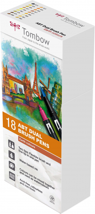 ABT Dual Brush Pen Earth Colours - set 18 culori Tombow 1