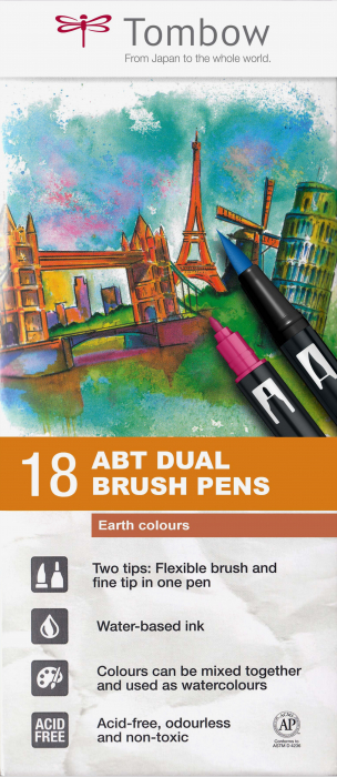 ABT Dual Brush Pen Earth Colours - set 18 culori Tombow 0