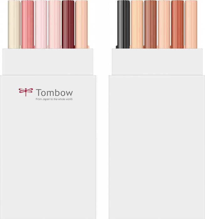 Set 12 Marker Dual Brush Watercoloring Tombow ABT Portrait Colours [2]