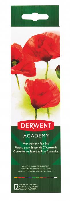 Set acuarele 12 culori cu pensula Derwent Academy™ 3
