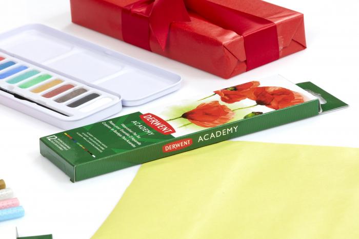 Set acuarele 12 culori cu pensula Derwent Academy™ 1