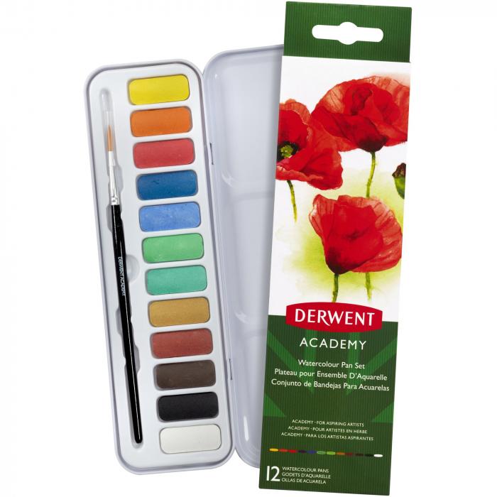 Set acuarele 12 culori cu pensula Derwent Academy™ 0