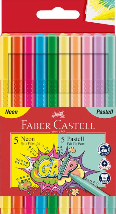 Carioca 10 culori Neon si Pastel Grip Faber-Castell [0]