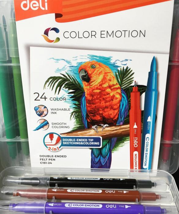 Carioci cu Varf Pensula 24 culori Deli [1]
