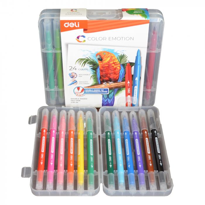Carioci cu Varf Pensula 24 culori Deli [2]