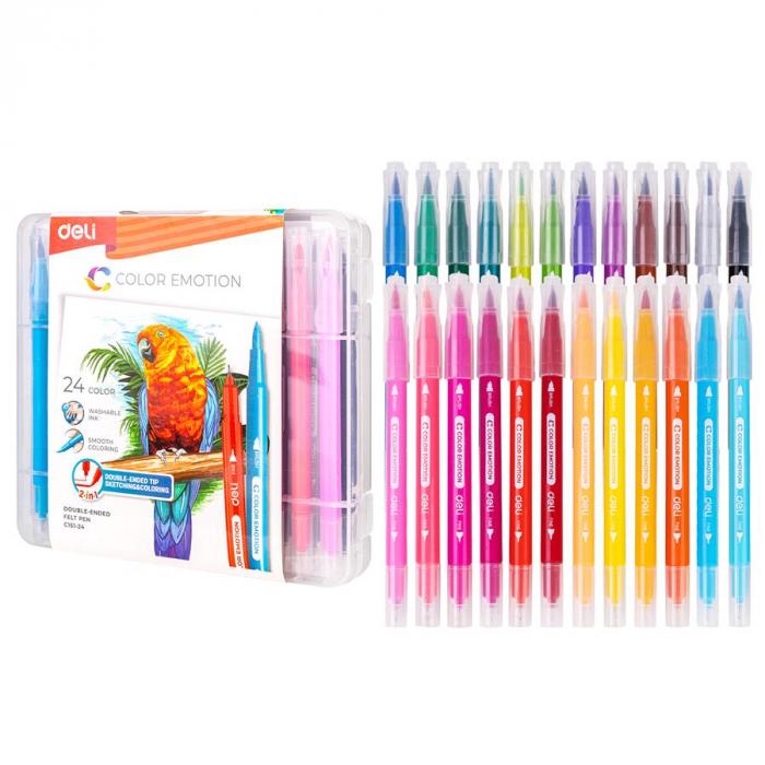Carioci cu Varf Pensula 24 culori Deli [0]