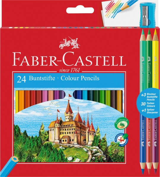 Creioane Colorate 24+3 Culori Eco + Ascutitoare Faber-Castell 0