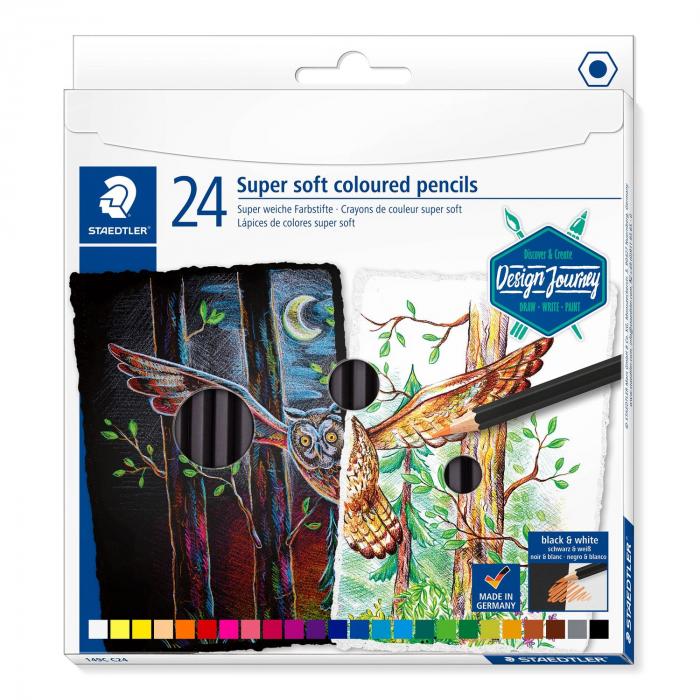 Creioane Colorate 24 Culori SUPER SOFT Cutie Carton STAEDTLER [0]