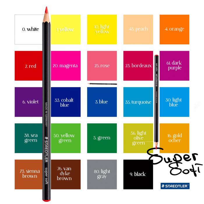 Creioane Colorate 24 Culori SUPER SOFT Cutie Carton STAEDTLER [1]