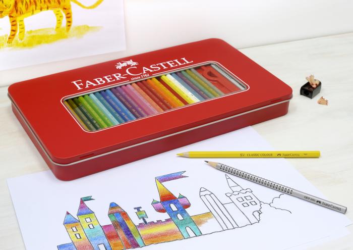 Creioane Colorate 48 Culori si 4 Accesorii Cutie Metal Faber-Castell 1