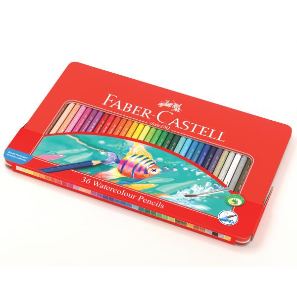 Creioane Colorate Acuarela 36 Buc cu Pensula Cutie Metal Faber-Castell [0]
