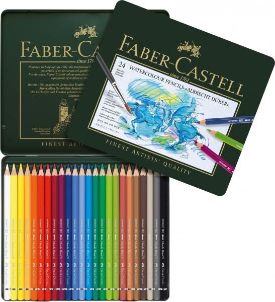 Creioane Colorate Acuarela A.Durer 24 culori, cutie metal Faber-Castell 0