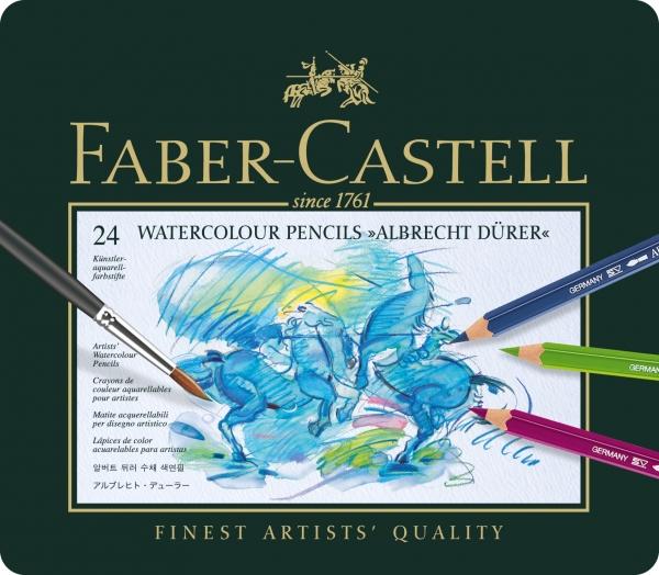 Creioane Colorate Acuarela A.Durer 24 culori, cutie metal Faber-Castell 1