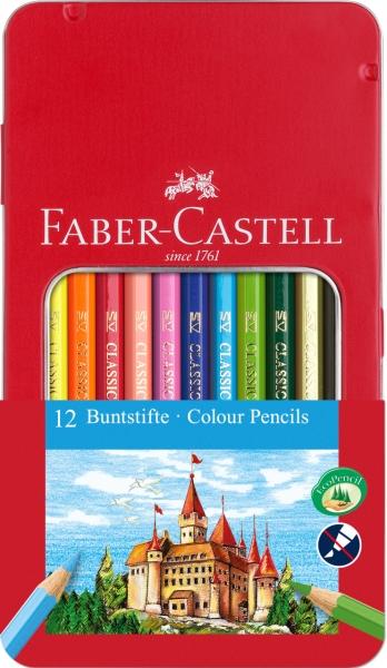 Creioane Colorate In Cutie Metal 12 culori in cutie metal Faber-Castell 0