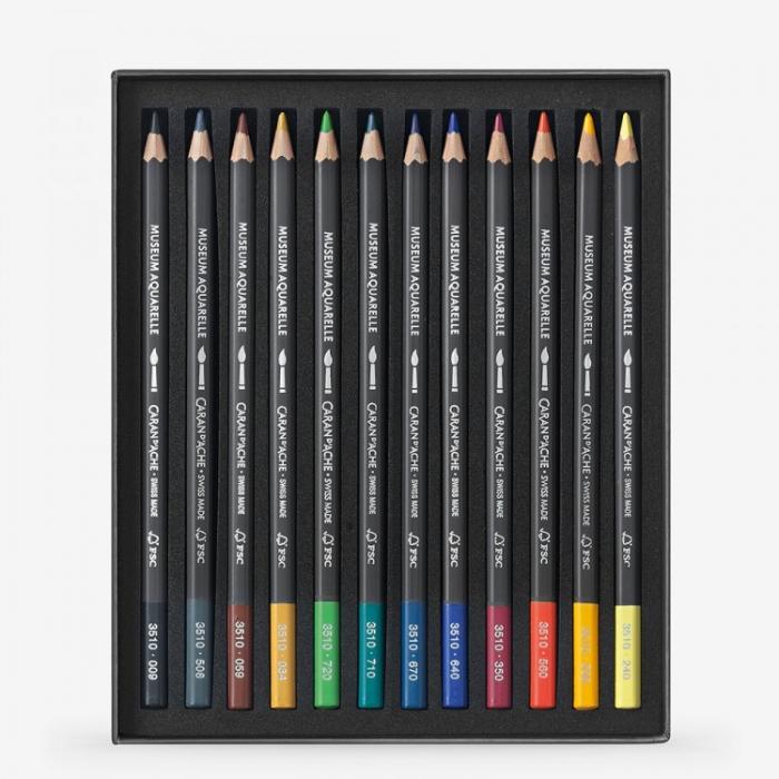 Creioane Colorate MUSEUM AQUARELLE 12 culori Caran d'Ache 1