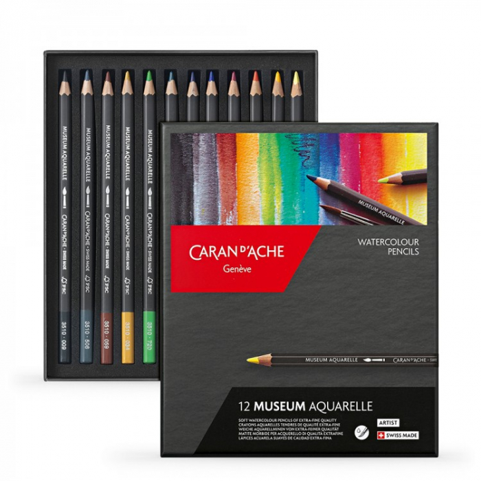 Creioane Colorate MUSEUM AQUARELLE 12 culori Caran d'Ache 0