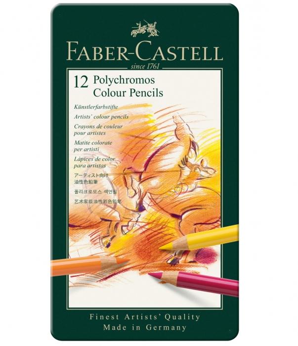 Creioane Colorate Polychromos 12 Culori Cutie Metal Faber-Castell 0
