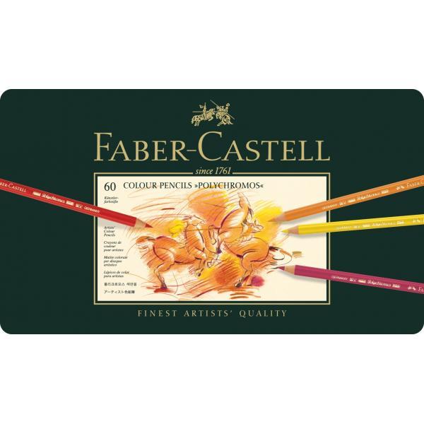 Creioane Colorate Polychromos 60 Culori Cutie Metal Faber-Castell 1