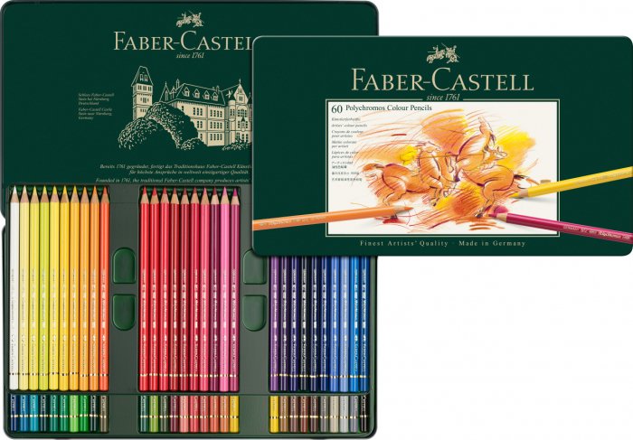 Creioane Colorate Polychromos 60 Culori Cutie Metal Faber-Castell 0