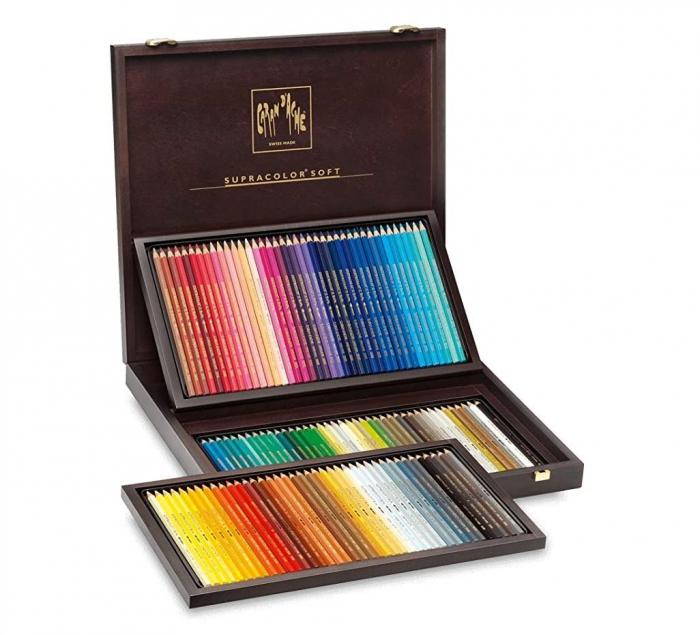 Creioane Colorate SUPRACOLOR 120 culori Wooden Box Caran d'Ache 2
