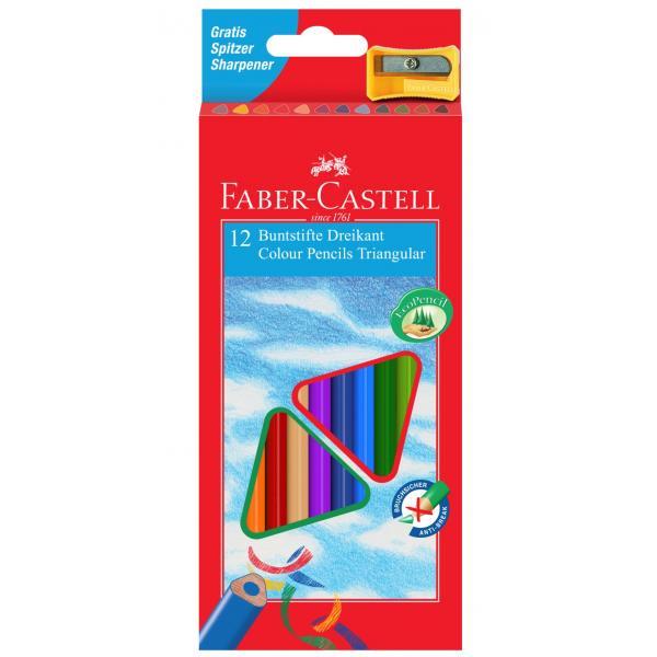 Creioane Colorate Triunghiulare cu Ascutitoare Eco 12 culori Faber-Castell [0]