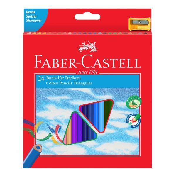 Creioane Colorate Triunghiulare cu Ascutitoare Eco 24 culori Faber-Castell [0]