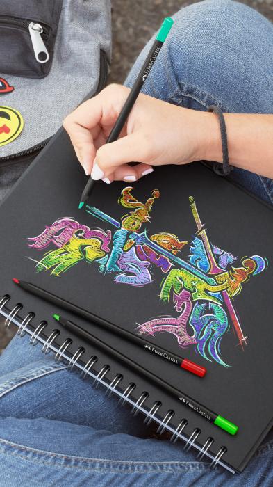 Creioane colorate triunghiulare cutie carton 12 culori Black Edition Faber Castell [2]