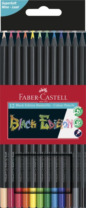 Creioane colorate triunghiulare cutie carton 12 culori Black Edition Faber Castell [0]