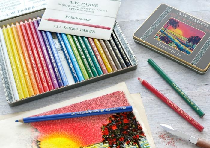 creioane colorate Polychromos set12 culori ,111 ani, fabercastell.ro 3